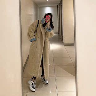 韩国东大门冬季2018羊羔毛外套女仿貂绒毛宽松加厚中长款大衣