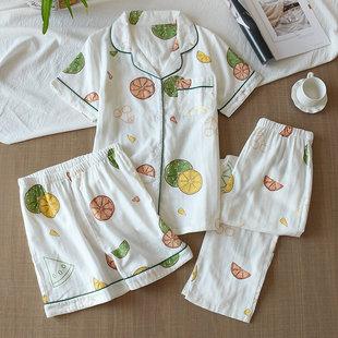 日系三件套睡衣短袖纯棉纱布春夏季全棉女款薄短裤长裤家居服套装