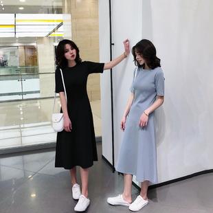 2019女装夏季短袖显瘦打底连衣裙长裙女冷淡风a字T恤裙子