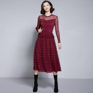 2018冬季女装显瘦蕾丝网纱长裙长袖层层蛋糕裙打底连衣裙