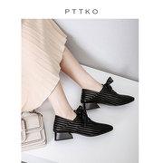 粗跟单鞋女2019春季蕾丝绑带中跟女鞋时尚气质舒适深口鞋