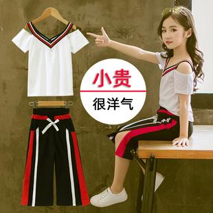 女童2019夏季亲子女孩网红套装中大童时髦运动儿童装洋气纯棉