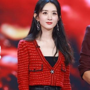 sp赵丽颖同款红色针织短款外套V领羊毛毛衣开衫半裙