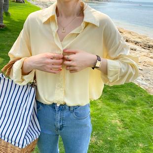 防晒衬衫女2021年春款时尚天丝蓝色衬衣设计感小众白色上衣夏