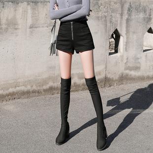 皮裤靴裤阔腿高腰短裤女秋冬款2018显瘦百搭打底外穿冬季