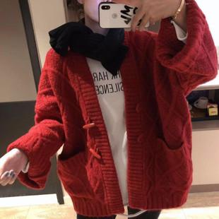 针织开衫外套女加厚中长款粗线毛衣牛角扣菱形宽松大口袋外套