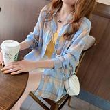 查看精选蓝色格子衬衫女夏宽松长袖薄款棉麻防晒衬衣中长款前短后长最新价格