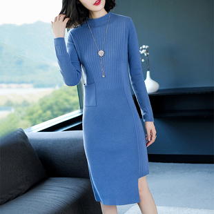 针织长袖打底裙秋冬装女2018欧美气质羊毛毛衣连衣裙中长