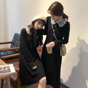 2018秋冬女装娃娃领百搭高腰针织裙学生长袖中长款连衣裙