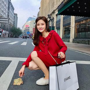 法国小众红色连衣裙女秋冬维多利亚复古大红色针织毛衣裙小红裙子