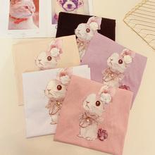 夏装可爱印花兔子t恤女短袖钉珠花朵装饰上衣宽松打底体恤衫