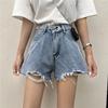 夏季破洞牛仔裤短裤女宽松显瘦直筒裤阔腿裤高腰2019裤子