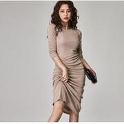 秋冬女装2020韩版时尚女神范长袖气质修身褶皱包臀内搭连衣裙
