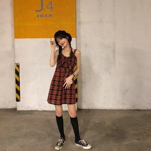 乌77 小法式胸前蝴蝶结设计吊带裙 显瘦格子连衣裙中长款