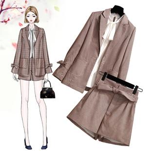网红小西装女套装秋装2019款女外套时尚欧货chic洋气短裤两件套酷