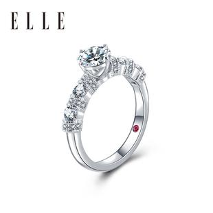 ELLE2019莫桑石戒指镀铂金一克拉求婚钻戒女结婚925纯银情侣