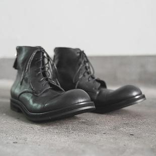 日系复古马丁靴男加绒中筒靴咔叽工装靴高帮靴子翘头大头皮鞋