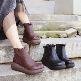 手工真皮女靴 春秋单靴 帅气马丁靴女欧美个性女鞋 森系坡跟短靴