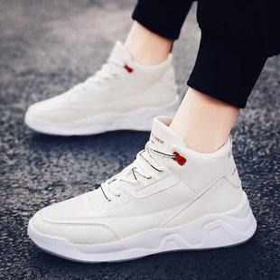 男鞋冬季棉鞋男生增高小白鞋男运动鞋2018帆布高帮鞋子男潮鞋