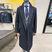 0222秋冬Liberclassy黑色半边夹棉过膝长款大衣男翻领双排扣外套