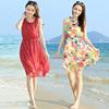 波西米亚背心裙红色波点无袖雪纺连衣裙夏短款飘逸海边度假沙滩裙
