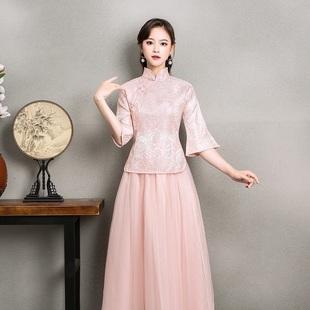 中式伴娘服女姐妹团礼服半袖2018春季民国风复古风中国风旗袍