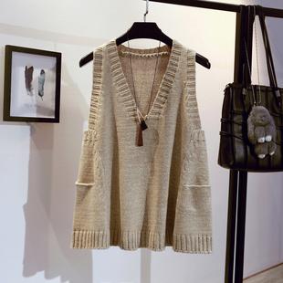 毛衣马甲女套头中长款春秋季宽松V领背心无袖针织衫外套加厚