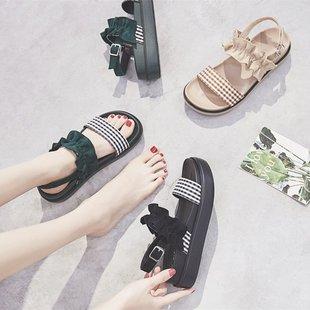 凉鞋女仙女风学生ins网红平底厚底百搭中跟日系可爱海边鞋子
