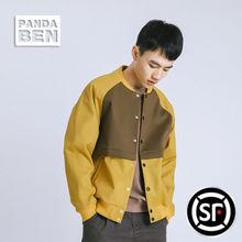 熊猫本 秋冬外套男潮日系青年上衣拼接撞色加绒棒球服夹克衫