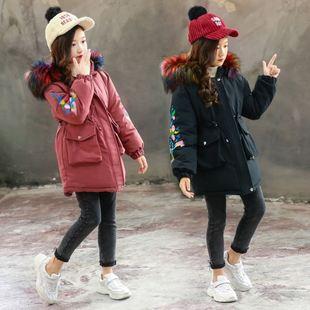 女童冬装棉服2018女孩洋气中长款保暖棉衣中大童加厚外套