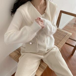 自带圣光滤镜 貂绒白色针织开衫短款外套毛衣女韩