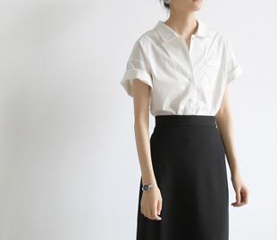 SS STUDIO 洋气夏季白色小衫 设计感小众小口袋短袖白衬衫女chic