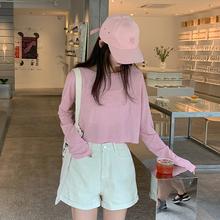 长袖T恤女夏季防晒打底衫短款粉色体恤宽松露脐上衣薄款