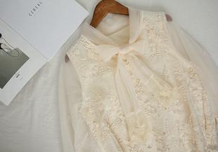 仙女钉珠蕾丝蝴蝶结喇叭袖上衣透视网纱气质衬衣女刺绣衬衫春上衣