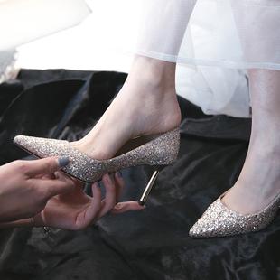 亮片婚鞋女2018结婚鞋子婚纱新娘鞋少女高跟鞋伴娘鞋细跟单鞋