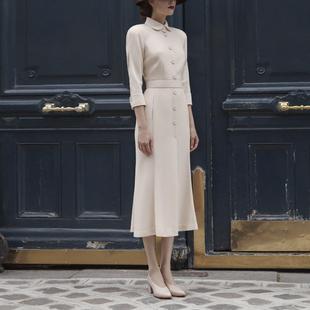 优雅气质方领七分袖收腰荷叶边摆温柔淑女女神范中长裙连衣裙