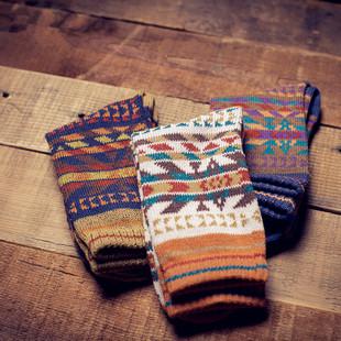 3双装 毛线袜子原宿民族风粗线日系中筒男女情侣袜子全棉英伦复古