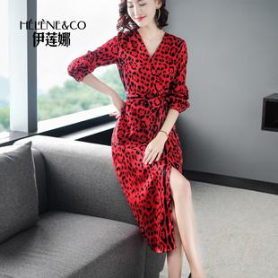 2019春装女装红色豹纹中长过膝有女人味的连衣裙收腰气质