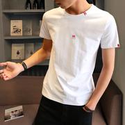 2019男士短袖t恤圆领宽松上衣夏季纯棉内搭白体恤男装半袖潮