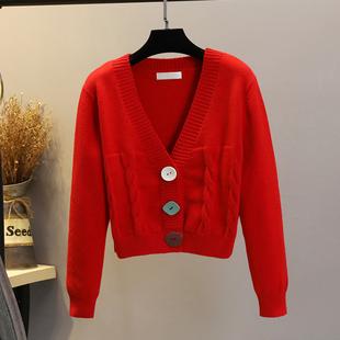 春秋毛衣女开衫短款2021韩国麻花针织修身外穿小个子加厚外套