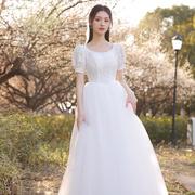 法式轻婚纱新娘结婚2021超仙森系简约复古甜美小个子礼服女夏