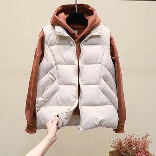 米白色马甲短款春季2021韩版宽松羽绒棉无袖马夹立领坎肩潮