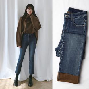加绒牛仔裤女宽松初恋裤学生阔腿高腰冬季2018显瘦直筒裤