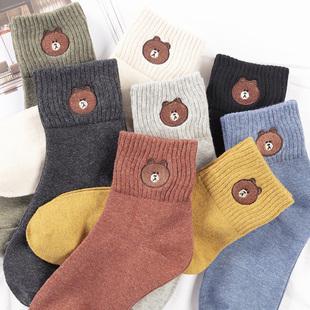 袜子女秋中筒袜学院风纯棉女袜四季可爱韩国日系长袜女冬季潮