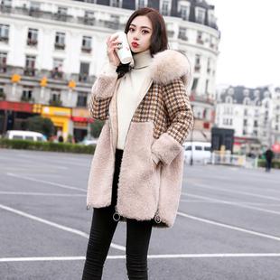 2018女装冬装宽松大码中长款毛呢外套女格子拼接毛领呢子大衣