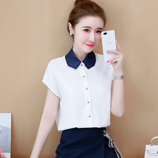 雪纺白衬衫短袖女装夏季时尚polo领宽松体恤衫洋气潮流行超仙上衣