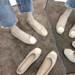 2019夏季奶奶鞋女平底复古浅口孕妇鞋春单鞋森系女百搭妈妈鞋
