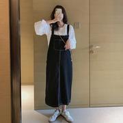 不挑身材~孕妇春装连衣裙长款韩版白色衬衫+牛仔背带裙两件套装潮