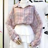 查看精选2019韩国东大门夏季设计感百搭长袖慵懒风少女格子衬衫女最新价格