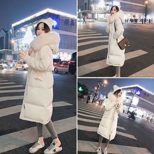 羽绒服女2018大毛领白色中长款过膝白鸭绒外套女冬季